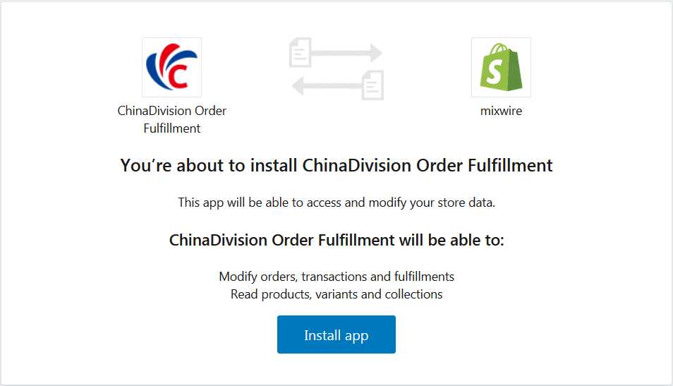 Free Shopify Fulfillment Integration by ChinaDivision